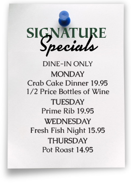 Shannons Daily Menu Specials